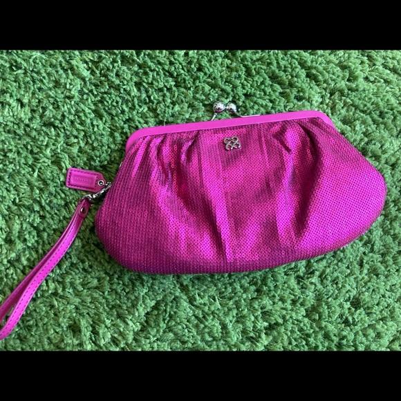 Pink Sequin Coach Clutch
